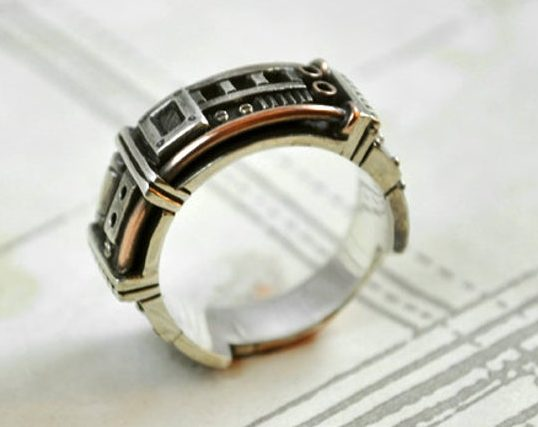 """Sterling silver steampunk ring """"Sustentorum"""" 