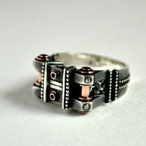"""Unique steampunk sterling silver ring """"Peragemus"""" 