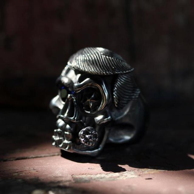 Donald Trump Skull Ring Men Cigar By Deific. Limited Edition 1 Of 2, Sterling Silver Skull Mens Ring, Custom Ring, Biker Ring, Gothic Ring