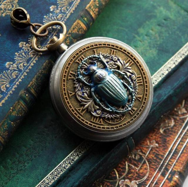 Scarab beetle Steampunk pocket watch case pendant in antique gold & blue / Egyptian Fantasy necklace jewelry for alt ladies / Chain sold sep  1