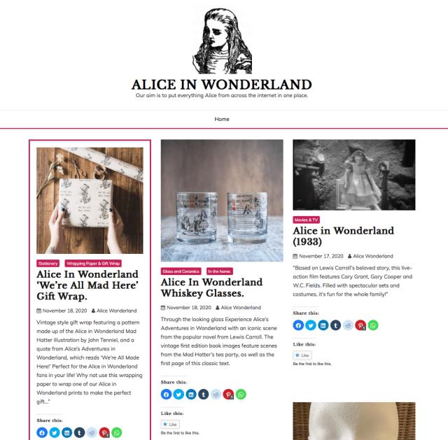 Visit our new Alice In Wonderland blog.