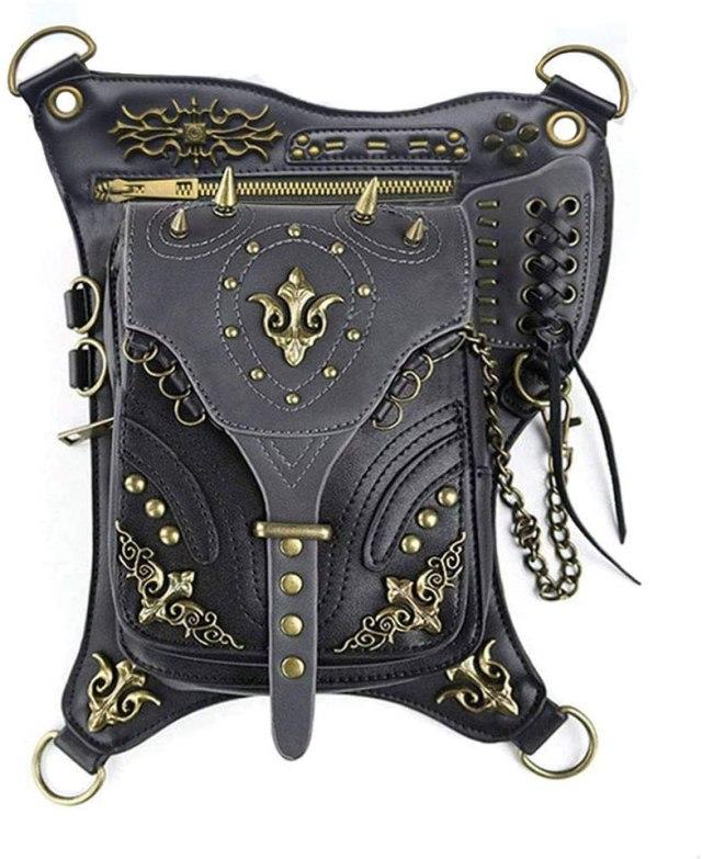 Steampunk Leather Crossbody Shoulder Tote Handbag Messenger Gothic Waist Bag Fanny Pack Motorcycle Drop Leg Bag Hip Holster Belt Purse Pouch Chain Travel Wallet for Women Men  2