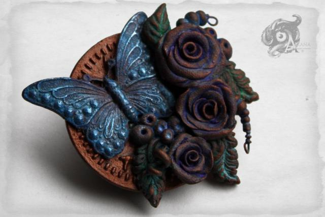 Steampunk butterfly, rose & leaf floral brooch in blue, copper + green // Handpainted polymer clay + metal // Neo-Victorian nature jewellery  1