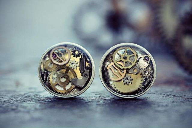 Watch Part Earrings Steampunk Jewelry Studs Sterling Silver Resin Clock Gears Gift For Her Gothic Clothing Victorian Costume  2