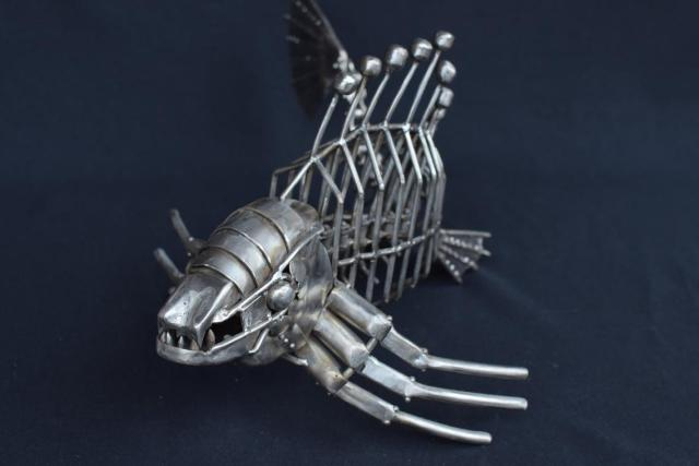 Fish metal steampunk monster abstract exclusive handmade sculpture , Shark killer and cyber mechanism sea giant. Material Stainless steel  2