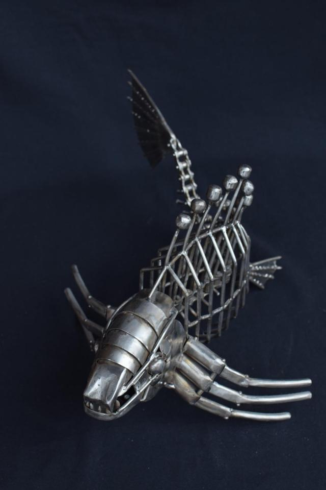 Fish metal steampunk monster abstract exclusive handmade sculpture , Shark killer and cyber mechanism sea giant. Material Stainless steel  5