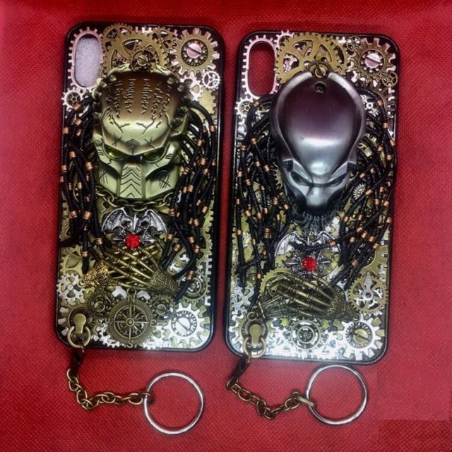 Handmade Steampunk Phone Case Personalised Metal Gears Gothic Alien Predator Artwork Phone Back Cover Gift for Rocker Biker  2
