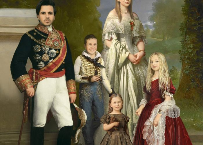 Victorian and Renaissance Fashion Portrait of your Family. Custom photo mockup