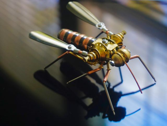 Mosquito: A Metallic Cyborg Insect. Steampunk 1