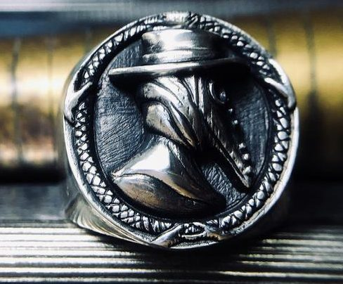 Plague Doctor Ring Beaked Mask Crow Bird Mask Gothic Crow Raven Handmade Sliver Pagan Rune Ring Ethnic Viking Steampunk Biker Ring