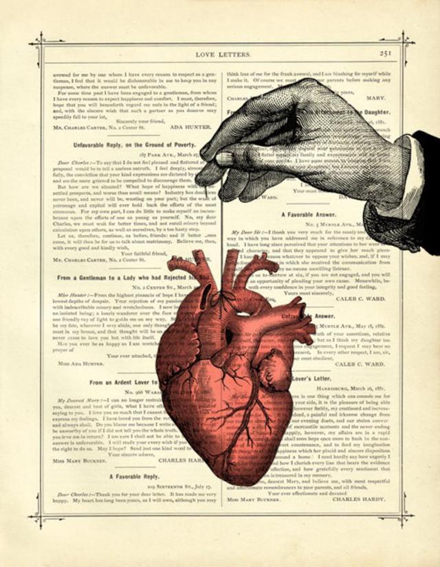 Anatomical Heart Thread Hand - Vintage Victorian Book Page Art Print Steampunk Valentine's Day Love  1