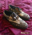 More old map print steampunk shoes created by Pastel Dream Shoes.