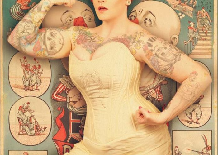 Gold Silk Steel-Boned Overbust Corset With Celtic Embroidery.