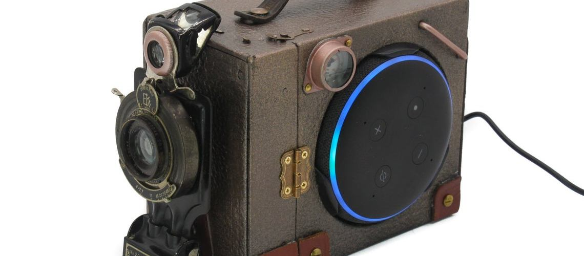 Steampunk Upcycled Kodak Brownie Box Camera Amazon Echo Dot Holder.
