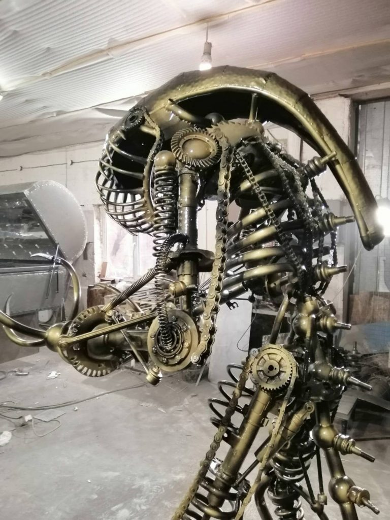 """Upcycled Scrap Metal """"Alien"""" Steampunk Art Sculpture. Photo credited to Alive Steel."""