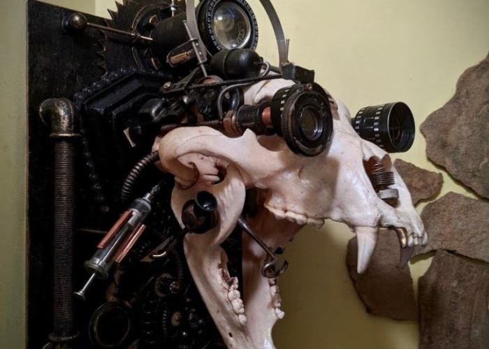 Cyborg Steampunk Bear Skull Wall Sculpture.Created and made to order by Anna Lunina of Alive Steel.