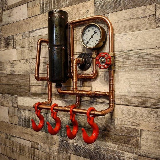 Steampunk Wall Art Retro Industrial Rustic Coat Rack. Created by TheLittleVintageLamp.
