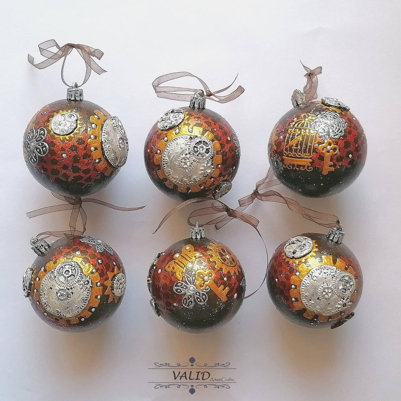 Steampunk Christmas Tree Bulbul (ball) Decorations. Created by VALIDArtsAndCrafts.