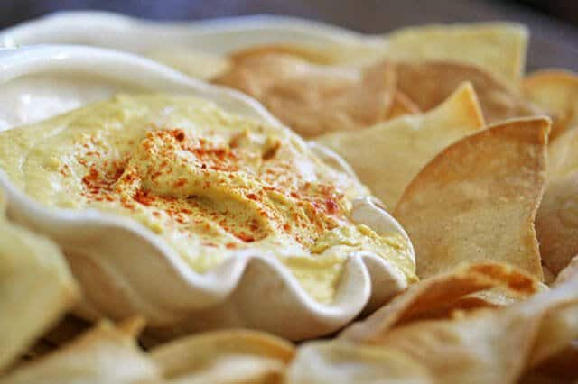 Smoky Hummus with Baked Tortilla Chips  Steamy Kitchen
