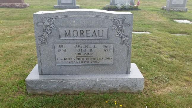 headstone Eugene Moreau and Rose Lagasse