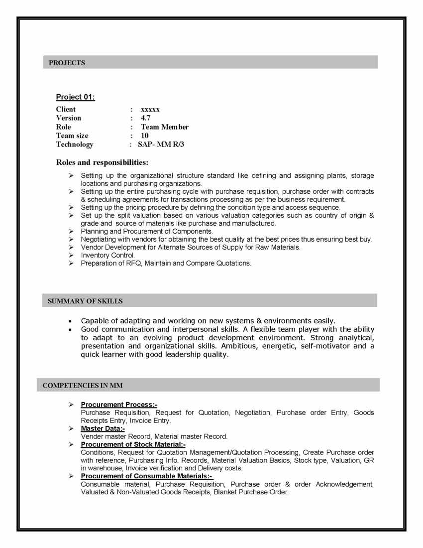 How To Format Experience On A Resume Sap Mm Materials Management Sample Resume 10 00 Years Experience