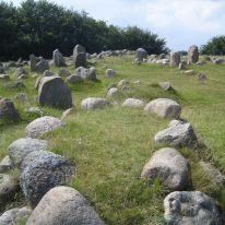 Lindholm Høje, viking burial site with 682 graves marked by stones.
