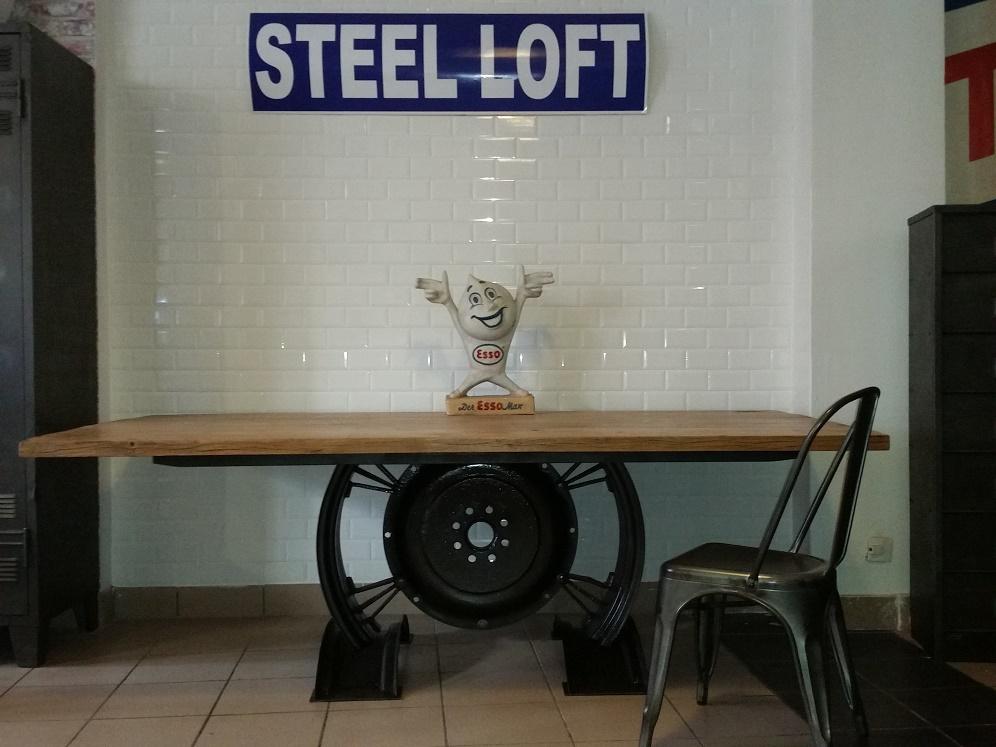 table industrielle creation steel loft paris plateau chene massif
