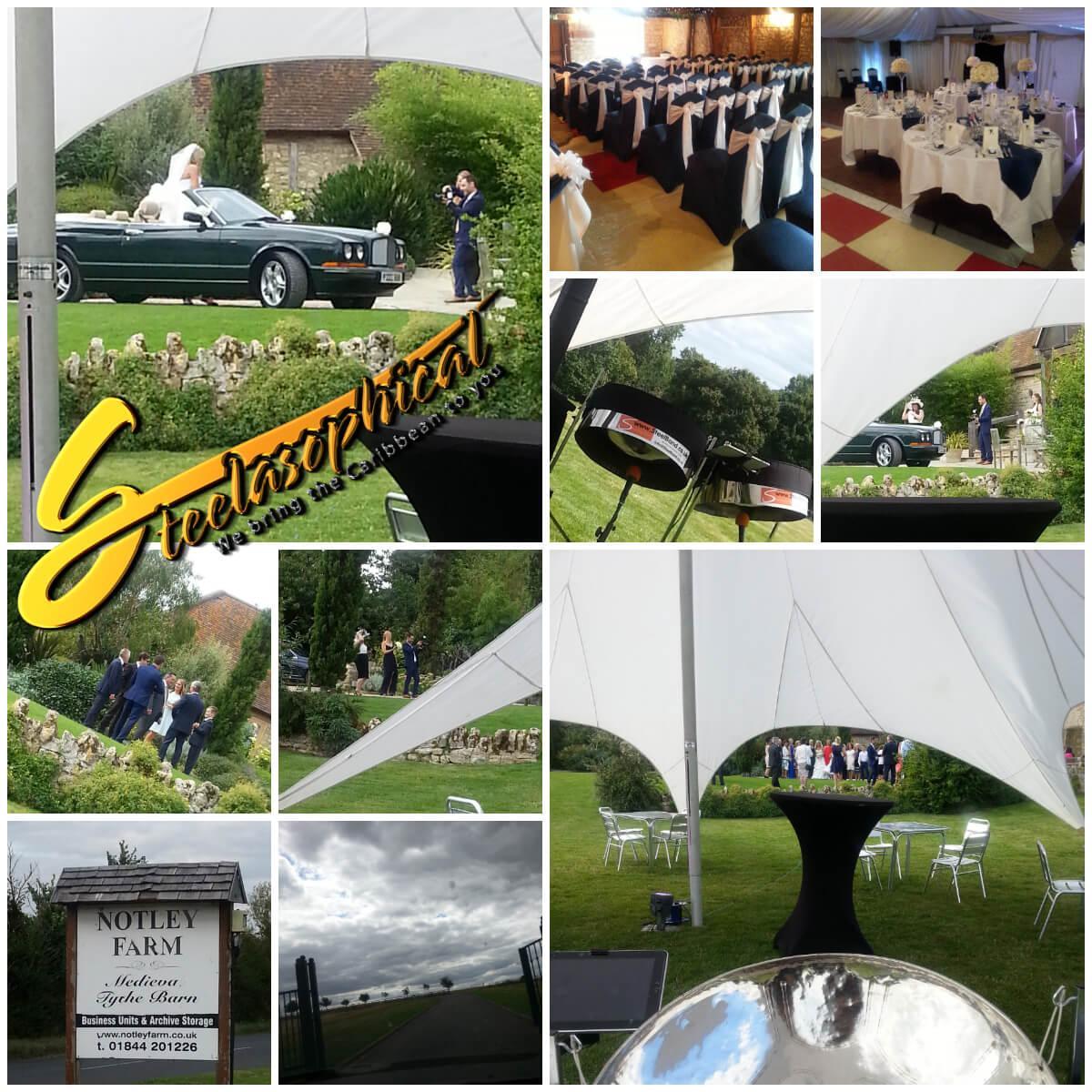 Steelasophical steel band wedding Notely Farm