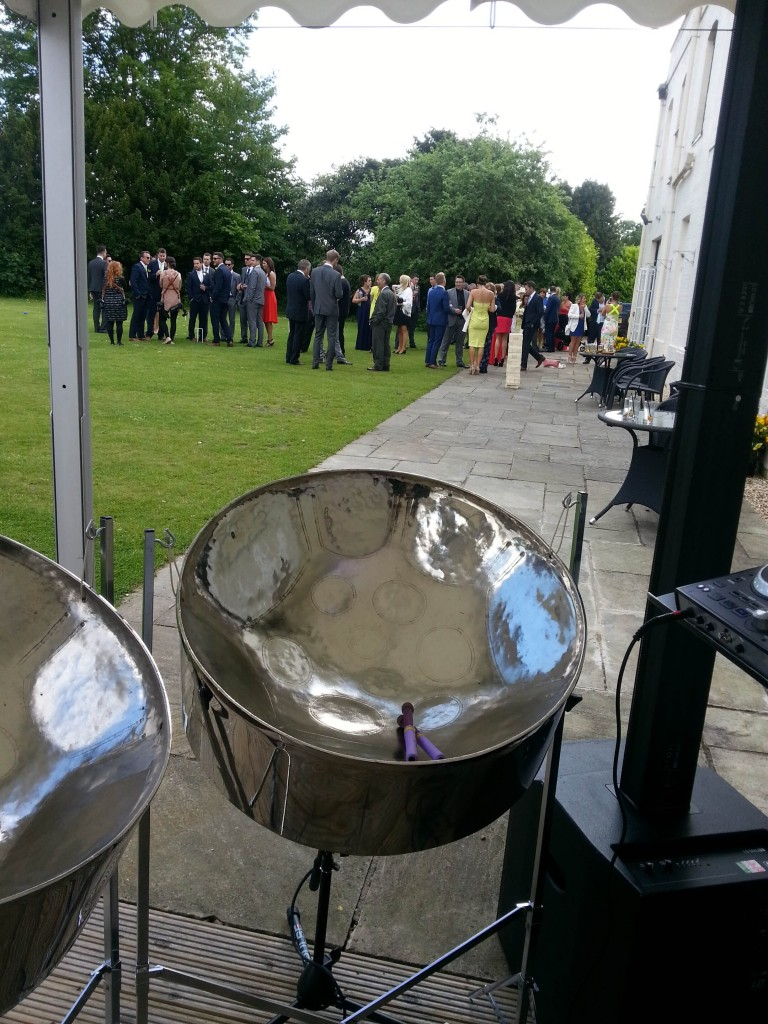 steel band hire for wedding day drinks reception with Steelasophical
