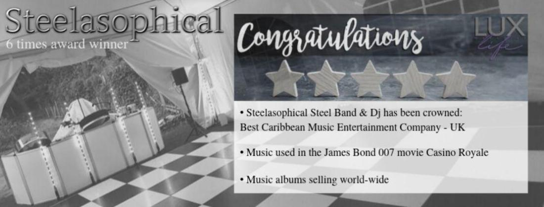 Steelasophical Caribbean Steel Drums Voted Best Caribbean Music Entertainment Company UK