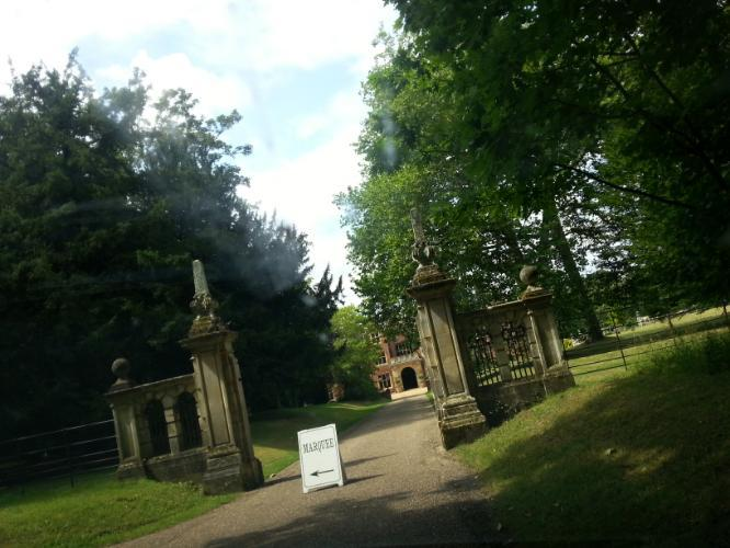 Longstowe Hall House Main Building entrance sign for marquee Wedding venue