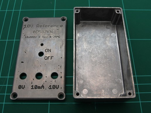 Diecast aluminium enclosure with holes drilled and front panel etched.