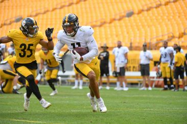Pittsburgh Steelers wide receiver Chase Claypool (11) trains at Heinz Field during the Steelers 2020 Training Camp, Tuesday, Aug. 18, 2020 in Pittsburgh, PA. (Karl Roser / Pittsburgh Steelers)
