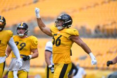 Pittsburgh Steelers linebacker Alex Highsmith (56) trains at Heinz Field during the Steelers 2020 Training Camp, Monday, Aug. 24, 2020 in Pittsburgh, PA. (Karl Roser / Pittsburgh Steelers)