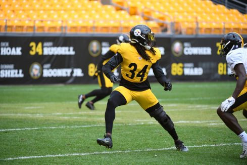 Pittsburgh Steelers safety Terrell Edmunds (34) trains at Heinz Field during the Steelers 2020 Training Camp, Monday, Aug. 31, 2020 in Pittsburgh, PA. (Karl Roser / Pittsburgh Steelers)