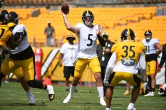 Pittsburgh Steelers quarterback Paxton Lynch (5) trains at Heinz Field during the Steelers 2020 Training Camp, Friday, Aug. 21, 2020 in Pittsburgh, PA. (Karl Roser / Pittsburgh Steelers)