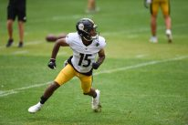 Pittsburgh Steelers wide receiver DeAndre Thompkins (15) trains at Heinz Field during the Steelers 2020 Training Camp, Wednesday, Sept. 2, 2020 in Pittsburgh, PA. (Caitlyn Epes / Pittsburgh Steelers)