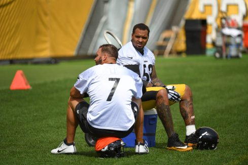Pittsburgh Steelers center Maurkice Pouncey (53) trains at Heinz Field during the Steelers 2020 Training Camp, Friday, Sept. 4, 2020 in Pittsburgh, PA. (Karl Roser / Pittsburgh Steelers)