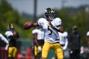 Pittsburgh Steelers quarterback Joshua Dobbs (5) practices at the UPMC Rooney Sports Complex preparing for a Week 1 matchup against the New York Giants, Wednesday, Sept. 9, 2020 in Pittsburgh, PA. (Karl Roser / Pittsburgh Steelers)