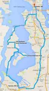 Vashon Island Day Ride route
