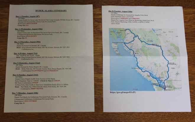 Printed copies of Itinerary