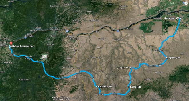 Day 2 Route - satellite view