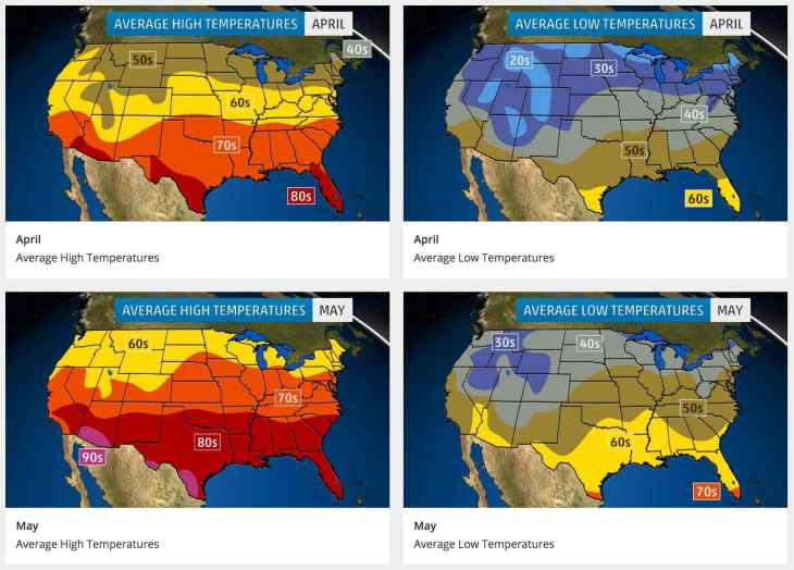 Apr:May avg temps US