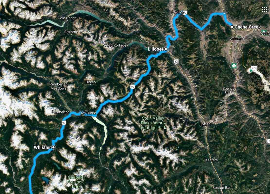 Hwy 99 satelite mountains