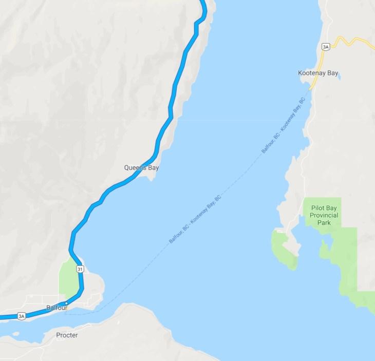 kootenay bay ferry route
