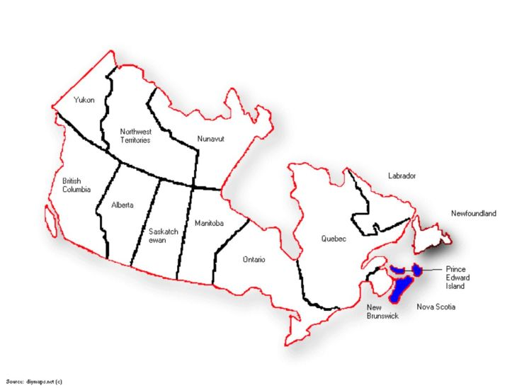 Canada Map PEI and NS