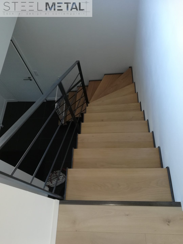 Escalier metal bois quart tournant