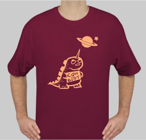 maroon T-shirt with dinocorn logo