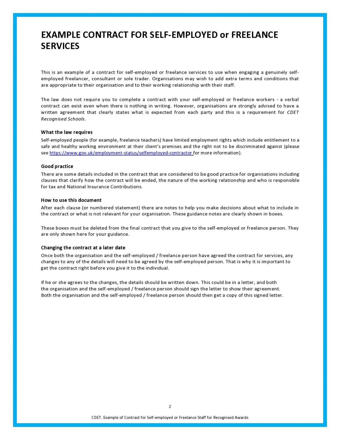 Adobe pdf, microsoft word (.docx), or open document text (.odt). Self Employment Contract Sample Employment Ihtf
