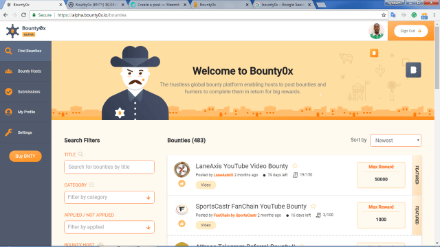 bounty0x dashboard
